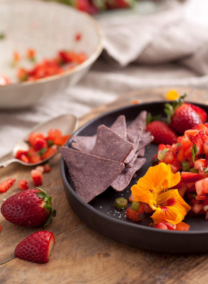 Corn Chips with Strawberry Salsa