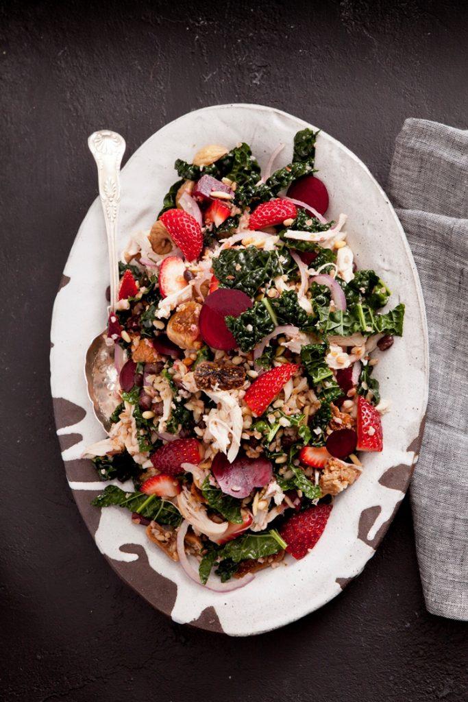 Warm strawberry salad